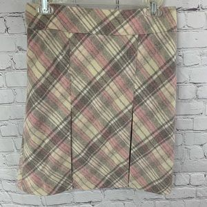 LOFT Pink And Gray Plaid Striped Wool Skirt